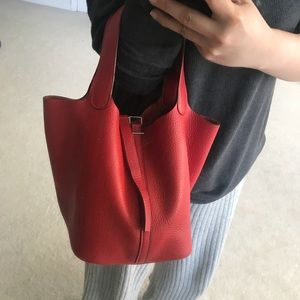 53e2edc1ac42 ... uk hermes bags hermes clemence rouge shw picotin 22 a07a0 84c62